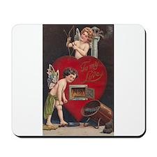 Vintage Valentine postcard with Cupid Fairy Mousep