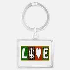 Quilted Love Peace Art Landscape Keychain