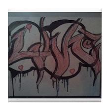 Graffitti love cloud Tile Coaster