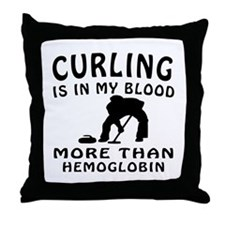 Curling Designs Throw Pillow