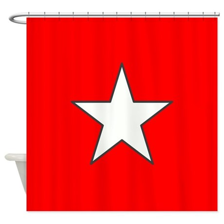 Red Star Shower Curtain By Poptopia1