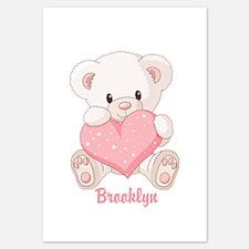 Custom name valentine bear 3.5 x 5 Flat Cards