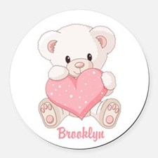 Custom name valentine bear Round Car Magnet