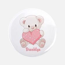 "Custom name valentine bear 3.5"" Button"
