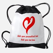 Red Heart Personalized Drawstring Bag