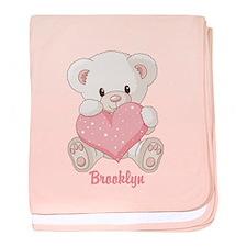 Custom name valentine bear baby blanket