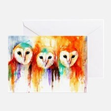 Row of Owls ~ Single Greeting Card