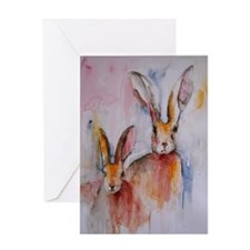 2 Hares ~ Single Greeting Card