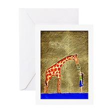 Giraffe and Girl ~ Single Greeting Card
