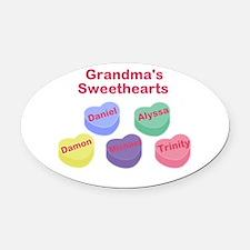 Custom Grand kids sweethearts Oval Car Magnet