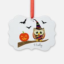 Custom name Halloween owl Ornament