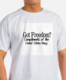 Got Freedom--Navy Ash Grey T-Shirt