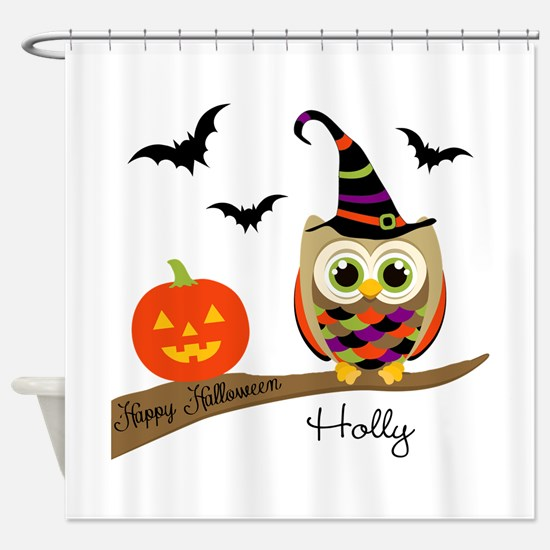 Custom name Halloween owl Shower Curtain