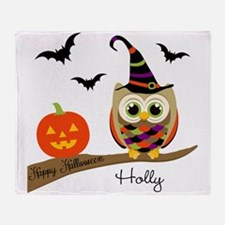 Custom name Halloween owl Throw Blanket