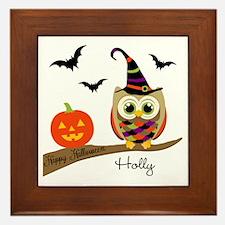 Custom name Halloween owl Framed Tile