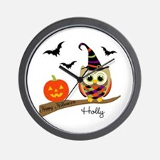 Custom name Halloween owl Wall Clock