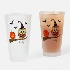 Custom name Halloween owl Drinking Glass