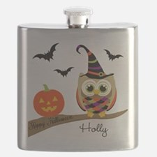 Custom name Halloween owl Flask