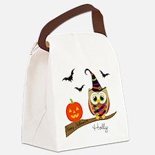 Custom name Halloween owl Canvas Lunch Bag