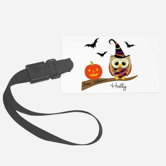 Custom name Halloween owl Luggage Tag