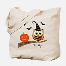 Custom name Halloween owl Tote Bag