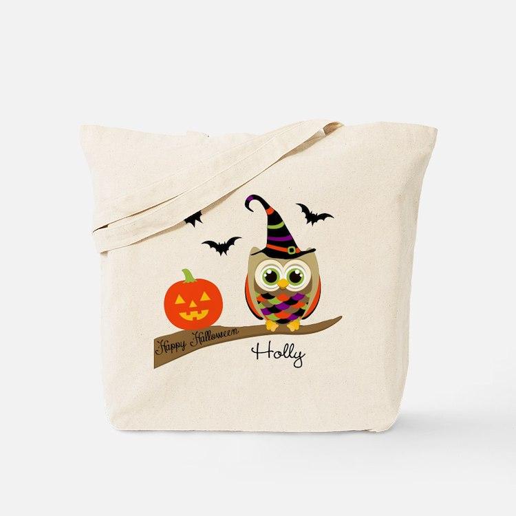 Custom name Halloween owl Tote Bag