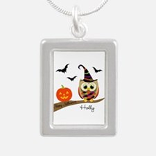 Custom name Halloween owl Silver Portrait Necklace