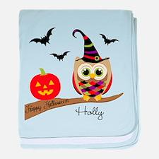 Custom name Halloween owl baby blanket