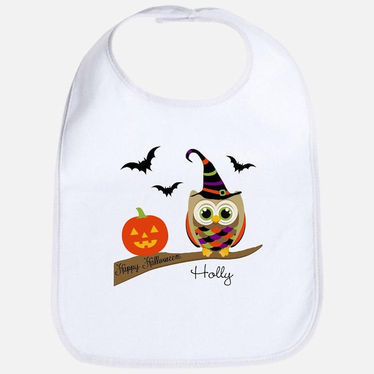 Custom name Halloween owl Bib