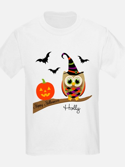 Custom name Halloween owl T-Shirt