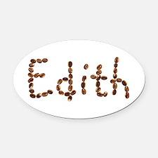 Edith Coffee Beans Oval Car Magnet