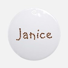 Janice Coffee Beans Round Ornament