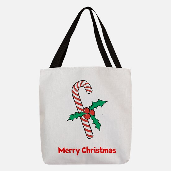 Candy Cane Personalized Polyester Tote Bag