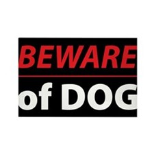 Beware Of Dog Rectangle Magnet