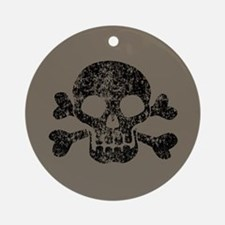 Worn Skull And Crossbones Ornament (Round)