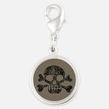 Worn Skull And Crossbones Silver Round Charm