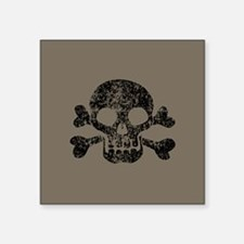 "Worn Skull And Crossbones Square Sticker 3"" x 3"""