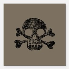 "Worn Skull And Crossbones Square Car Magnet 3"" x 3"