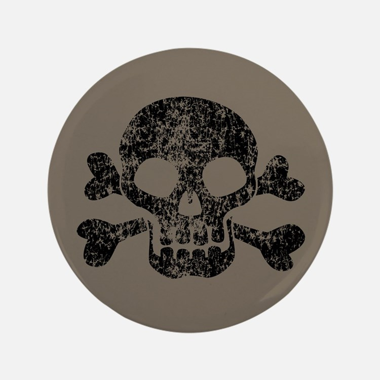 "Worn Skull And Crossbones 3.5"" Button"