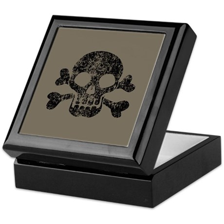 Worn Skull And Crossbones Keepsake Box