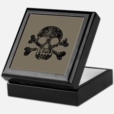 Worn Skull And Crossbones Keepsake Box