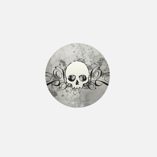 Skull With Splatters And Swirls Mini Button