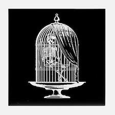 Skeleton In Birdcage Tile Coaster