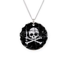 Crackled Skull And Crossbones Necklace