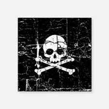 "Crackled Skull And Crossbones Square Sticker 3"" x"