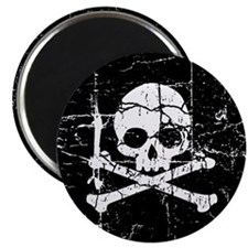 Crackled Skull And Crossbones Magnet