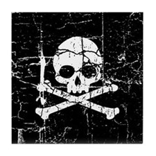 Crackled Skull And Crossbones Tile Coaster
