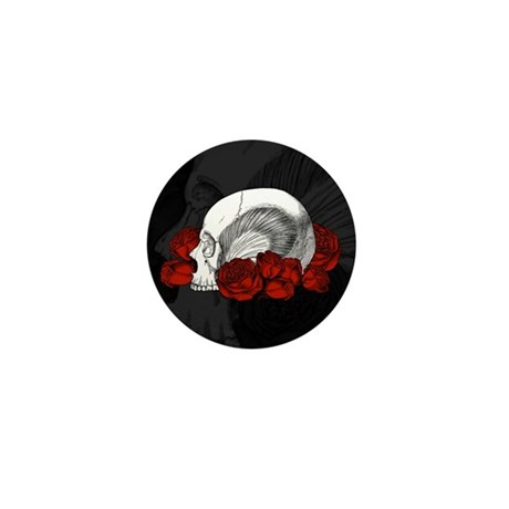 Skull And Red Roses Mini Button