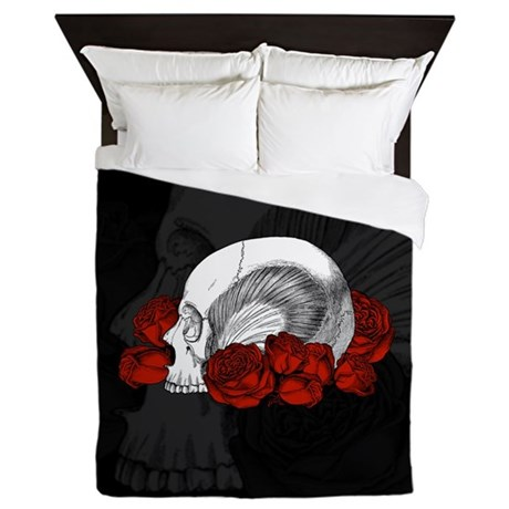 Skull And Red Roses Queen Duvet