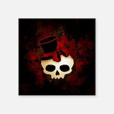 "Cute Gothic Skull In Top Hat Square Sticker 3"" x 3"